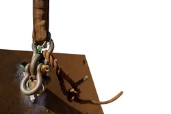 Safe work practices safety lift sling attached into D- shackle 4.5 ton lifting lug together with tagline prior load being lifted by crane isolated white background