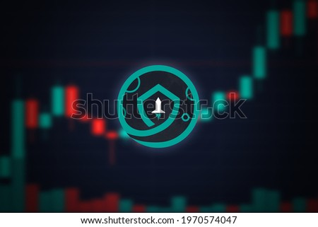 Safemoon cryptocurrency coin logo and defocused stock market chart background, virtual valuta concept. Foto d'archivio ©