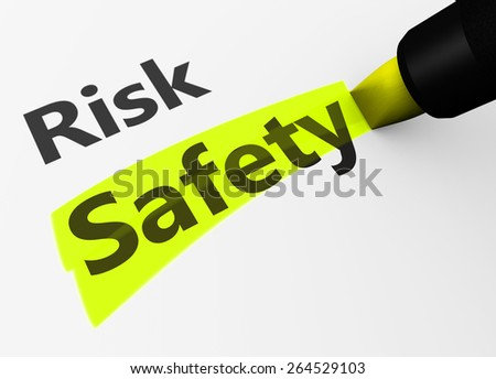 Safety and security concept with a 3d rendering of risk text and safety word highlighted with a yellow marker.