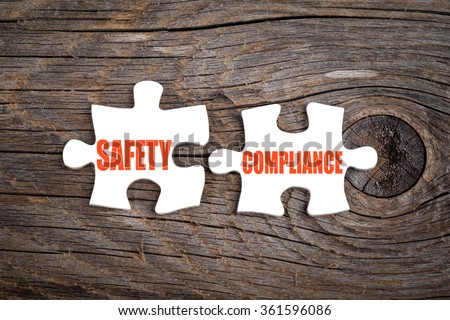Safety Compliance - words on puzzle.Conceptual image.