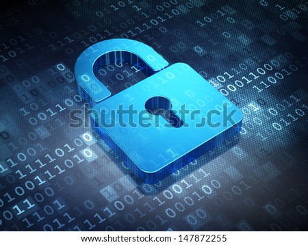 Safety concept: Blue Closed Padlock on digital background, 3d render