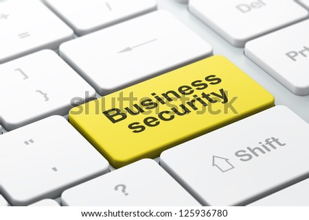 Safety concept: computer keyboard with word Business Security, selected focus on enter button, 3d render