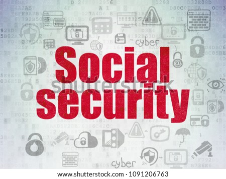 Safety concept: Painted red text Social Security on Digital Data Paper background with  Scheme Of Hand Drawn Security Icons