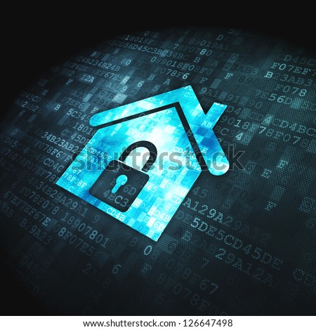 Safety concept: pixelated Home icon on digital background, 3d render