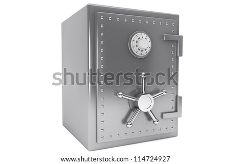 Safety concept. Steel Bank safe on a white background.