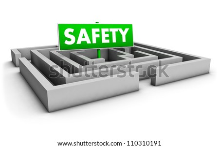 Safety concept with labyrinth and green goal sign on white background.