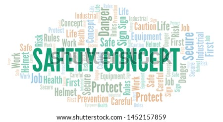 Safety Concept word cloud. Word cloud made with text only.