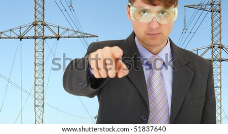 Safety engineer in electrical networks strictly pointed his finger - stock photo