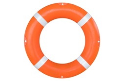 Safety equipment, Life buoy or rescue buoy isolate on white background with clipping path