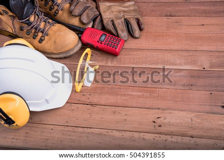 safety equipment on wooden.Industrial construction concept, tools #504391855