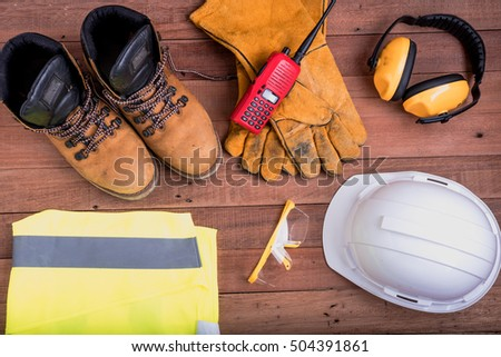 safety equipment on wooden.Industrial construction concept, tools #504391861