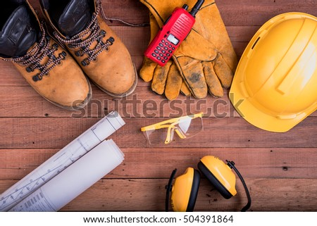 safety equipment on wooden.Industrial construction concept, tools #504391864