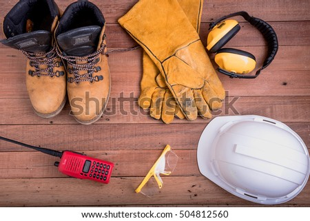 safety equipment on wooden.Industrial construction concept, tools #504812560