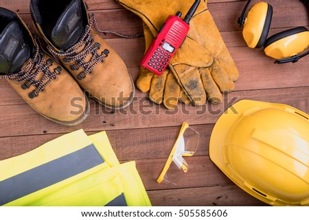safety equipment on wooden.Industrial construction concept, tools #505585606