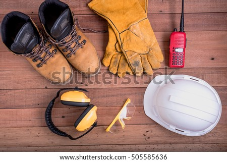 safety equipment on wooden.Industrial construction concept, tools #505585636