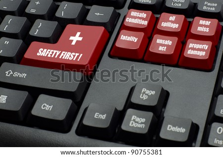 safety first word with type of incidents on red and black keyboard button