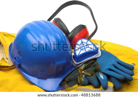 Safety gear kit and tools close up