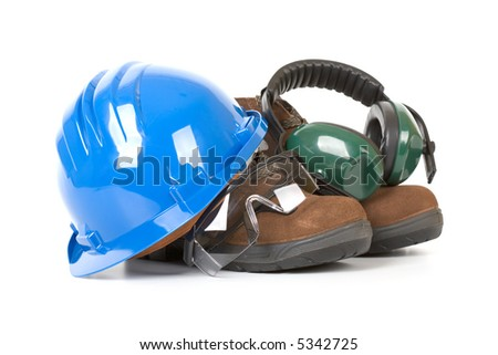 Safety gear over a white background
