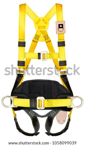 safety harness equipment and lanyard for work at heights isolated on a white background