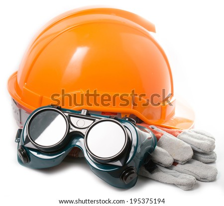 Safety hat and goggles glasse isolated with white background a