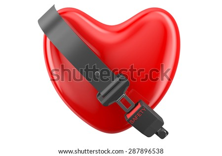 safety heart concept, heart with safety belt isolated on white background