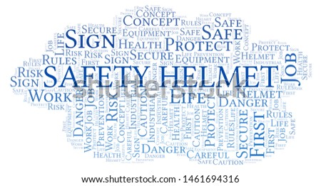 Safety Helmet word cloud. Word cloud made with text only.