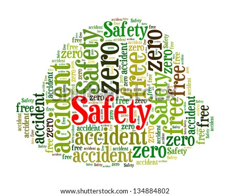 safety info-text graphics and arrangement concept in safety helmet design (word cloud)