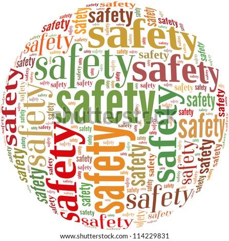 Safety info-text graphics and arrangement concept on white background (word cloud)