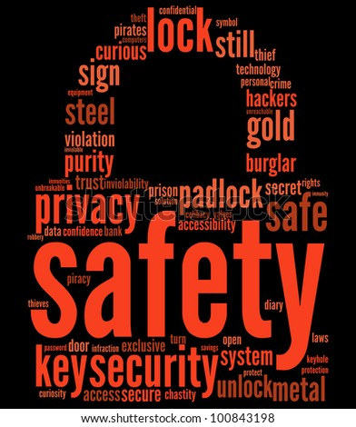 safety lock shaped tag cloud for security concept / padlock tagcloud