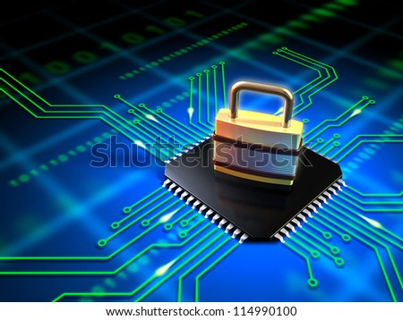 Safety lock standing on top of a microchip connected to a printed circuit board. Digital illustration.