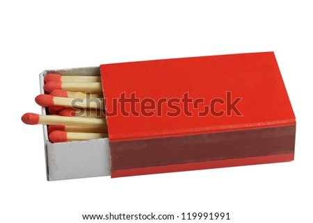 Safety matches in red box.
