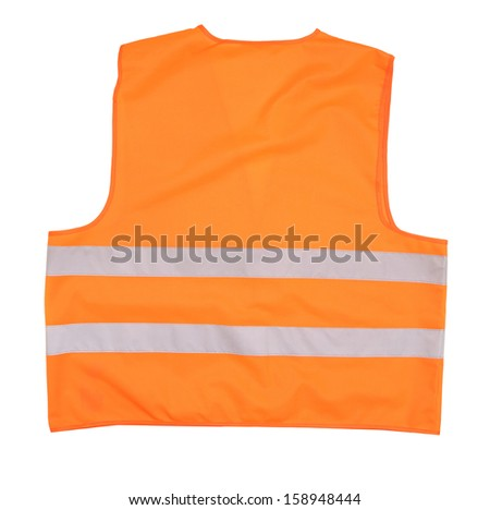 Safety orange vest. Back view. Isolated on a white background.