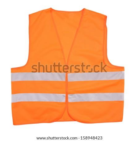 Safety orange vest. Isolated on a white background. - stock photo