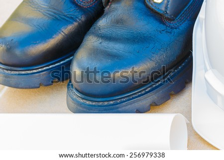 safety shoe and safety helmet Close up