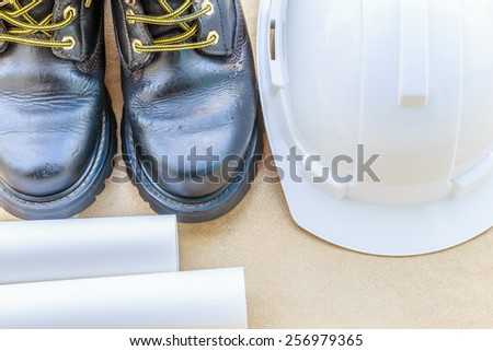 safety shoe and safety helmet High Angle View