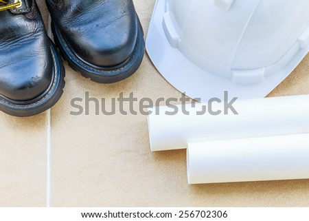 safety Shoes,helmet, High Angle View