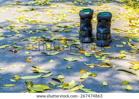 Safety Shoes On the road with leaves