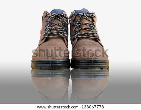 Safety shoes with white isolated