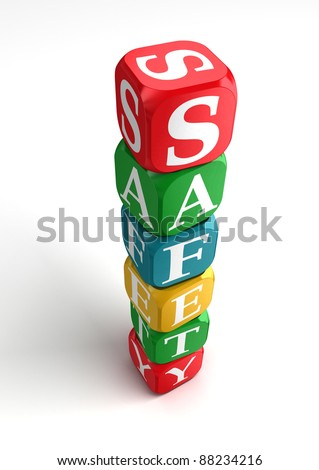 safety sign 3d colorful box tower on white background