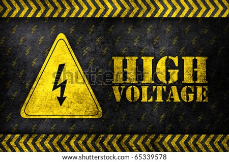 safety sign high voltage in grunge style