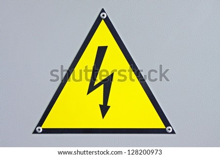safety sign of attention to electrical energy and danger of electrocution