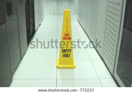Safety zone marker in a datacenter aisle.