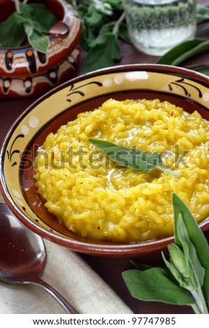 Saffron and sage risotto