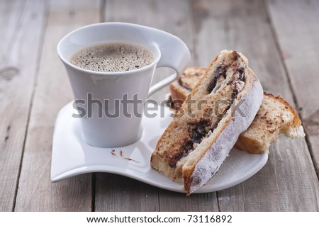 Saffron coffee cake with chocolate filling - stock photo