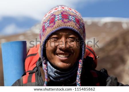 SAGARMATHA NATIONAL PARK, NEPAL - DECEMBER 01: Dendi Sherpa, trekking guide at the pass in time of Russian expedition on December 01, 2009 in Sagarmatha National Park, Nepal Himalaya