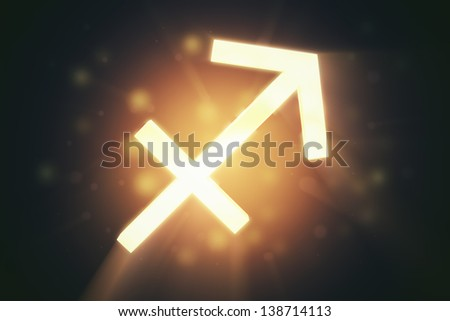Sagittarius (the archer), zodiac horoscope astrology sign with warm color glowing surface.