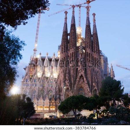 Shutterstock Sagrada Familia - a architectural monument at dawn