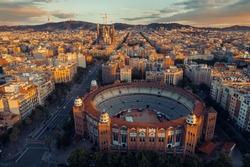 Sagrada Familia Basilica aerial view as the famous landmark in Barcelona, Spain