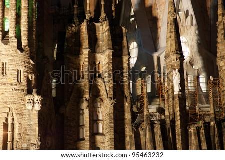 Sagrada Familia by Antoni Gaudi in Barcelona Spain. At night - stock photo