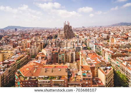 Sagrada Familia cathedral and Barcelona cityscape in Spain, aerial view.  #703688107
